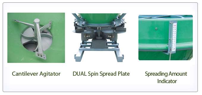 Cantilever Agitator, DUAL Spin Spread Plate,  Spreading Amount Indicator